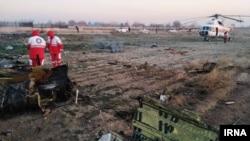Իրան - Փրկարարական աշխատանքները օդանավի կործանման վայրում, 8-ը հունվարի, 2020թ.