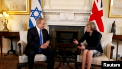 Israeli Prime Minister Benjamin Netanyahu meets U.K. Prime Minister Theresa May at 10 Downing Street in London on February 6