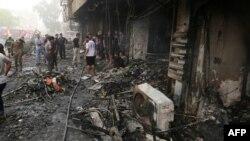 Pamje pas sulmit të sotëm në Karrada të Bagdadit