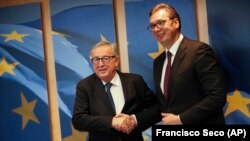 Predsednik Evropske komisije u prošlom mandatu Žan Klod Junker i predsednik Srbije Aleksandar Vučić u Briselu oktobra 2019.