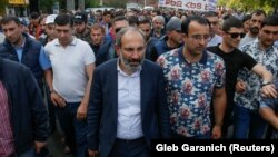 ARMENIA - Armenian opposition leader Nikol Pashinyan arrives to attend at a rally in Yerevan, Armenia, April 30, 2018