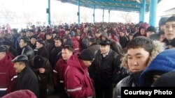 Kazakh oil workers in Zhanaozen participate in a mass strike for better pay and conditions in 2010. Proposed new legislation could make such industrial action illegal.