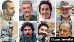 Seven of the jailed ecologists are pictured here and the person at bottom right is Kavous Seyed-Emami, who dies in prison in suspicious circumstances.