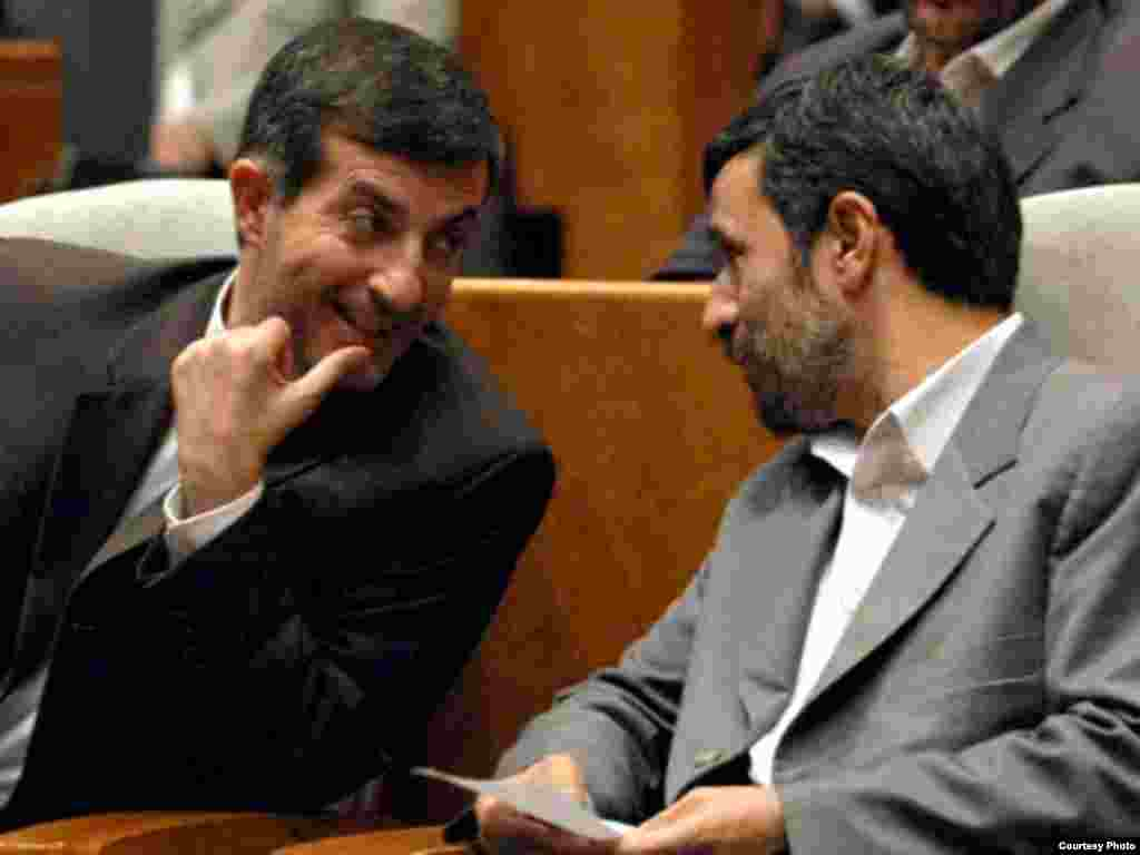 Iran -- President Mahmud Ahmadinejad (R) and his new vice president Esfandiar Rahim-Mashaei, Jul2009 - Iran's President, Mahmoud Ahmadinejad (R) and his new vice president, Esfandiar Rahim-Mashaei (courtesty photo from Mashaei's official website: www.mashaei.ir) Mashaei, Mashaee,