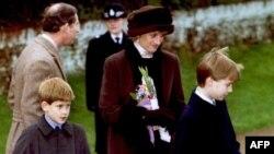 Принцесса Диана с детьми и принцем Чарльзом в декабре 1994 года
