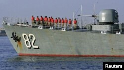 "The Iranian Navy destroyer ""Shahid Naqdi"" is pictured at Port Sudan on October 31."