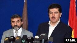 رئيس حكومة إقليم كردستان نيجيرفان بارزاني مع الأمين العام للاتحاد الإسلامي الكردستاني صلاح الدين بهاء الدين
