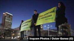 Protest în București pentru continuarea procedurii de înscriere a zonei Roșia Montană în patrimoniul UNESCO