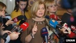Ирина Геращенко, Украина Жоғарғы Радасы спикерінің бірінші орынбасары.