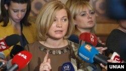 Представниця України в гуманітарній підгрупі Тристоронньої контактної групи з урегулювання конфлікту на Донбасі Ірина Геращенко