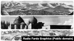 از بالا ایروان، آرامگاه شیخ صفی و اردبیل