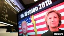 نمایی از بازار سهام آلمان و تصویری از صفحه تلویزیون با موضوع رقابت انتخاباتی ریاستجمهوری آمریکا