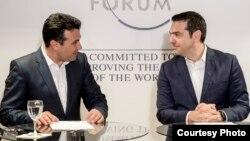 Zoran Zaev și Alexis Tsipras, la forumul economic de la Davos