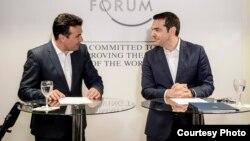 ремиерите на Македонија и Грција, Зоран Заев и Алексис Ципрас во Давос, Швајцарија