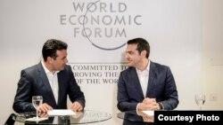 Архивска фотографија- прес-конференција на премиерите на Македонија и Грција, Зоран Заев и Алексис Ципрас во Давос, Швајцарија
