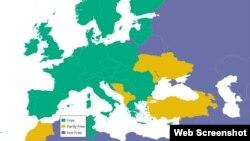 Mapa iz izvještaja Freedom House; zeleno slobodne, žuto djelimično slobodne, plavo neslobodne zemlje