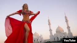 Rezeda Ganiullina dances on the grounds of a mosque in the ancient city of Bolgar.