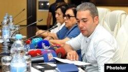 Azerbaijan - Armenian citizen Vahan Martirosian holds a news conference in Baku, 18Sep2015.