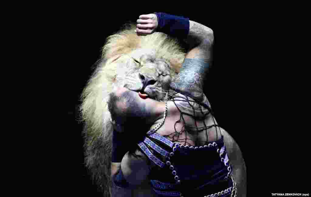A circus artist and a lion perform during the first Minsk International Circus Art Festival in Minsk, Belarus. Participants from 16 countries took part in the event. (epa-efe/Tatyana Zenkovich)