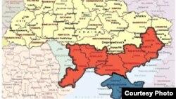 Красная территория - это только часть Новороссии в том смысле, которое вкладывает в это понятие В,В.Путин. Кремль, похоже, претендует, не считая синего после аннексии Крыма, еще и на Луганскую, Харьковскую и Днепропетровскую области.
