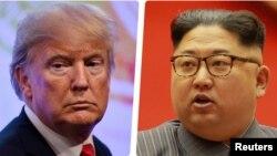 АҚШ президенті Дональд Трамп пен Солтүстік Корея басшысы Ким Чен Ын.
