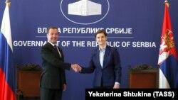 Ռուսաստանի և Սերբիայի վարչապետեր Դմիտրի Մեդվեդևը և Անա Բրնաբիչը, Բելգրադ, 19-ը հոկտեմբերի, 2019թ.