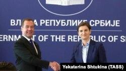 Премиерите на Русија и на Србија Дмитри Медведев и Ана Брнабиќ, Белград, 19.10.2019.