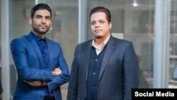 Sajjad Shahidian (L) with his partner Vahid Vali. Undated.
