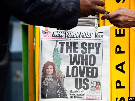 A New York newspaper shows one of the Russians arrested for attempted espionage.