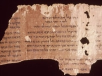 A fragment from the Dead Sea scrolls on display at the British Library