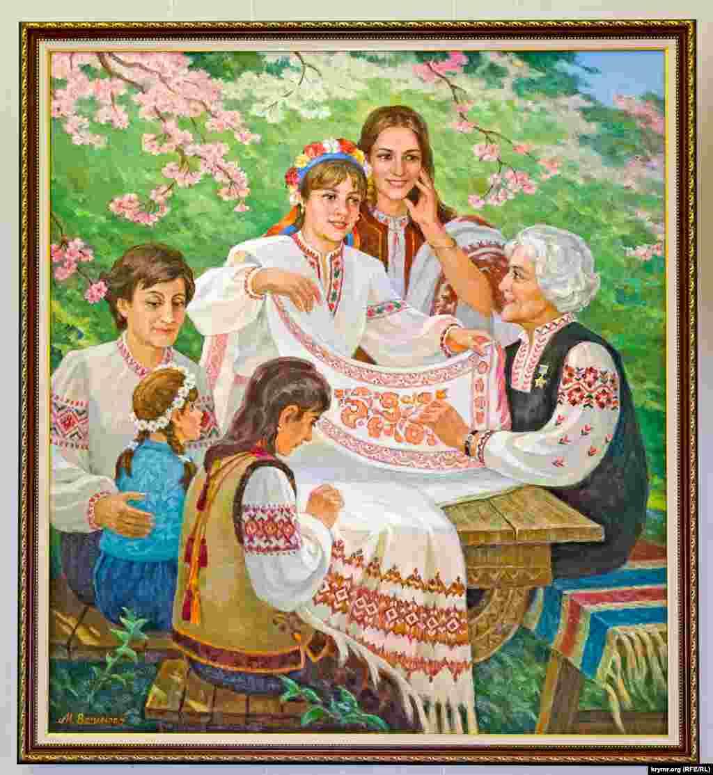 Віра Роїк з ученицями. Картина Народного художника України В. Бернадського. 1985 рік