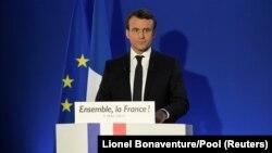 Эммануэль Макрон обращается к своим сторонникам после выборов во Франции. 7 мая 2017 года.