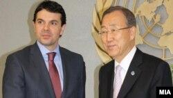 Архивска фотографија: Министерот за надворешни работи Никола Попоски се сретна со генералниот секретар на ОН Бан Ки Мун во Њујорк.