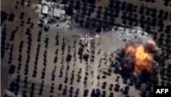 تصویری منتشرشده از سوی وزارت دفاع روسیه از یکی از حملات هوایی