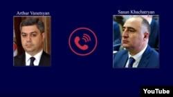 Глава СНБ Артур Ванецян (слева) и глава ССС Сасун Хачатрян
