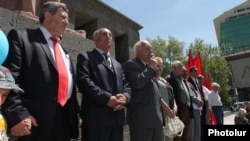 Armenia - Armenian Communist Party leader Ruben Tovmasian (C) addresses a May Day rally in Yerevan, 1May2012.