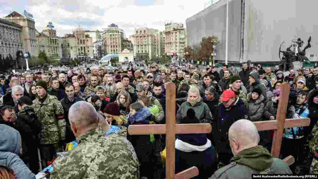 Під час прощання з українськими воїнами