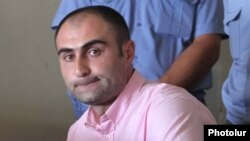 Armenia -- Ashot Harutiunian, a police officer, at the his trial on charges stemming from the April 13 death of a man in police custody.