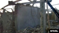 Rubble in aftermath of suicide attack in Kandahar