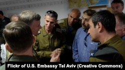 Former Israeli Deputy Chief of Staff Maj. Gen. Yair Golan, with American generals. File photo