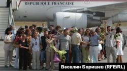 Посрещането на българските медици от Либия на 24 юли 2007 г. на Летище София