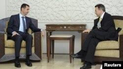 Башар аль-Асад (л) і Петер Маурер (п) на зустрічі в Дамаску 4 вересня 2012 року, офіційне фото сирійського державного агентства «САНА»
