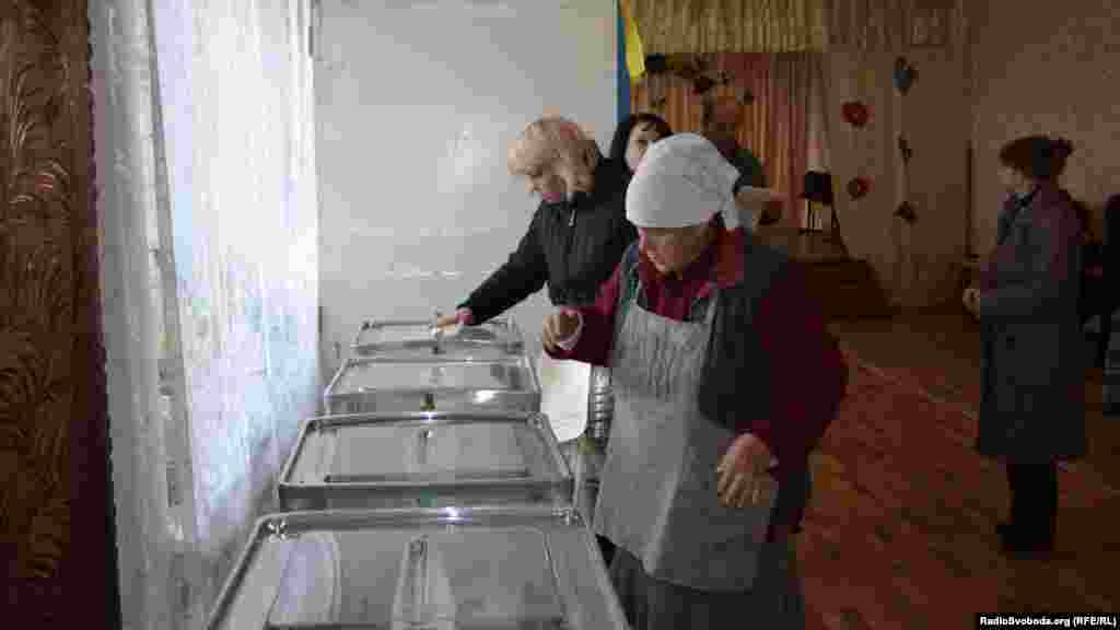 Voting in Luhansk.
