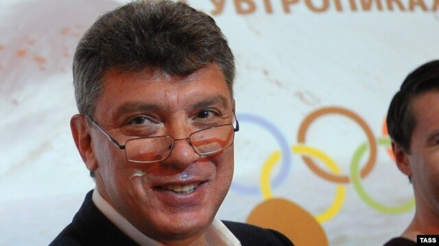Russian opposition figure Boris Nemtsov at a news conference in Moscow at which he released a report alleging the embezzlement of money allocated to next year's Sochi Winter Olympics