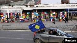 """Obelisku i Pavarësisë """"NEWBORN"""", në pesëvjetorin e shpalljes së Kosovës shtet."""