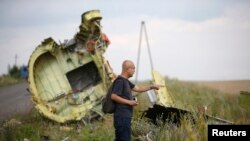 A Malaysian air crash investigator inspects the crash site of Malaysia Airlines Flight MH17, near the village of Hrabove on July 22.