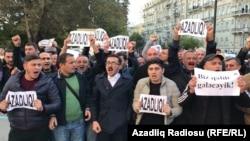 Müsavat Partiyasının Bakı Şəhər İcra Hakimiyyəti qarşısında piketi