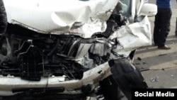 Машина с дипномерами РФ, устроившая аварию