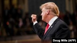 Трамп во время выступления в Конгрессе
