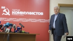 Former Moldova president and Communist Party leader Vladimir Voronin at a press conference in Chisinau on June 4.